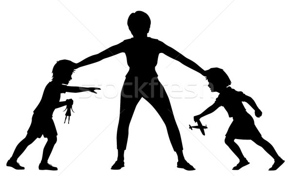 Sibling rivalry silhouette Stock photo © Tawng