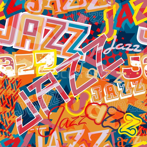 Jazz sin costura azulejo vector palabra diferente Foto stock © Tawng