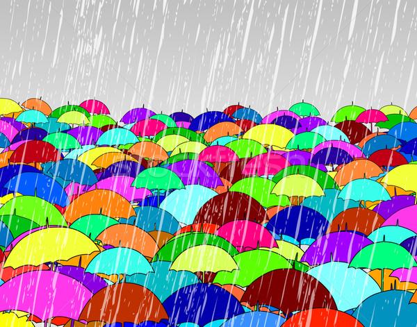 Düzenlenebilir yağmur kalabalık kış grup Stok fotoğraf © Tawng