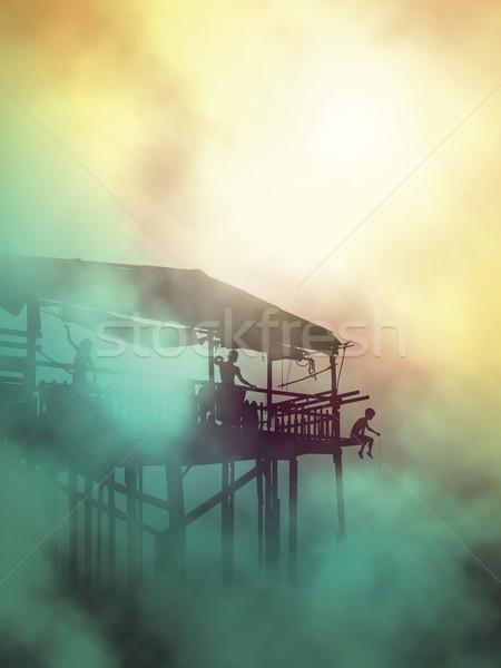 Misty shack life Stock photo © Tawng