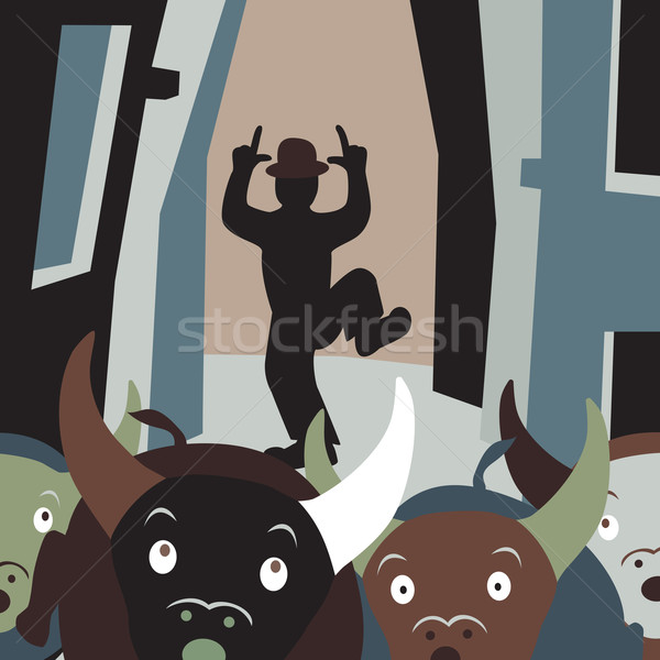 Stier lopen vector cartoon illustratie Stockfoto © Tawng