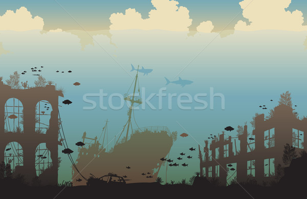 Oceaan mariene leven schipbreuk Stockfoto © Tawng