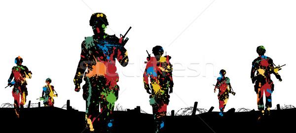 Paintball troepen verf soldaten lopen Stockfoto © Tawng