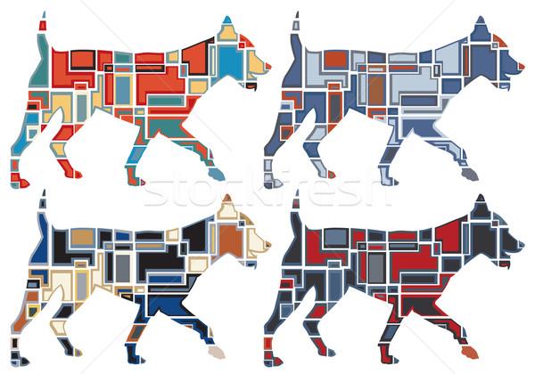 Trotting dog mosaics Stock photo © Tawng