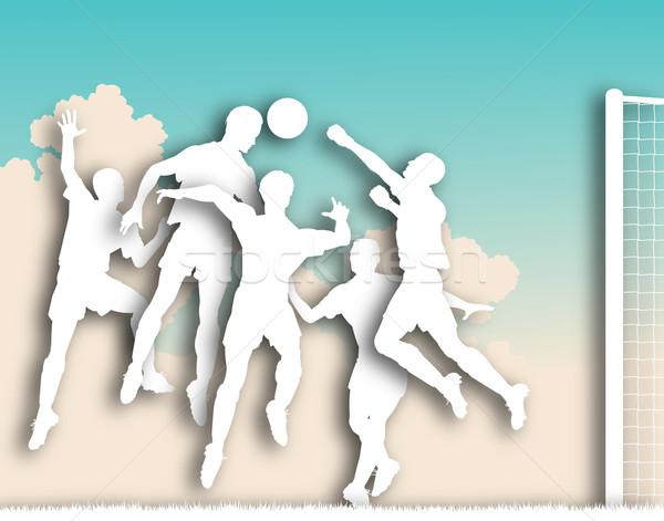 Futball játék kivágás illusztrált játékosok csepp Stock fotó © Tawng