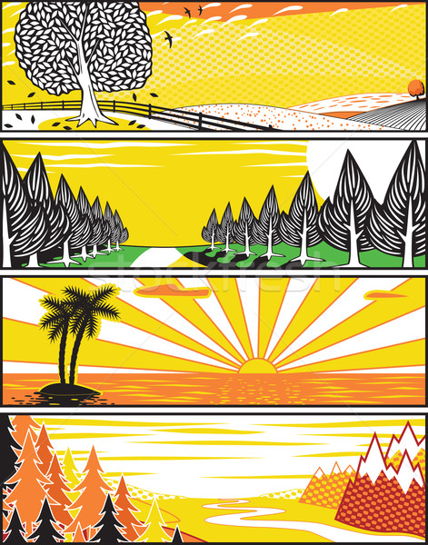 Popart landscape banners Stock photo © Tawng