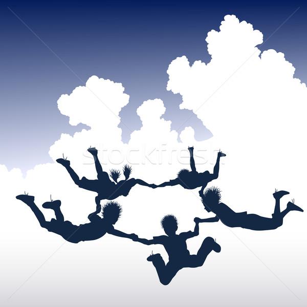 Skydiving kinderen ring wolken vrienden Stockfoto © Tawng