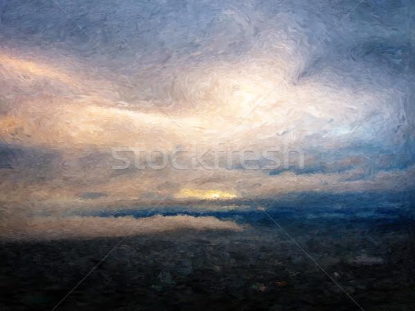 świcie malarstwo mętny krajobraz niebo chmury Zdjęcia stock © Tawng