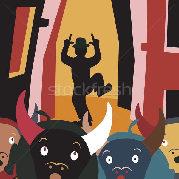 Bull run Stock photo © Tawng