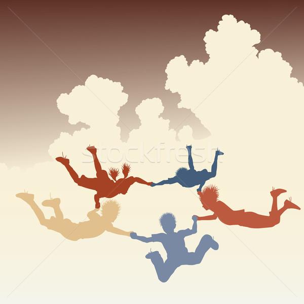 Skydiving vrienden vector kleurrijk illustratie Stockfoto © Tawng