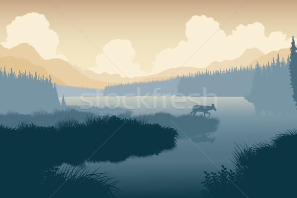 Vadon szarvas eps8 szerkeszthető vad tájkép Stock fotó © Tawng