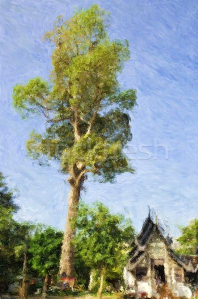 Thai temple arbre peinture bouddhique Photo stock © Tawng