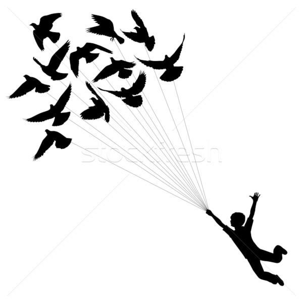 Pigeon garçon vecteur silhouette réalisée battant Photo stock © Tawng