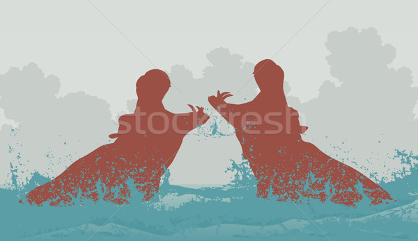 Two fighting hippos Stock photo © Tawng