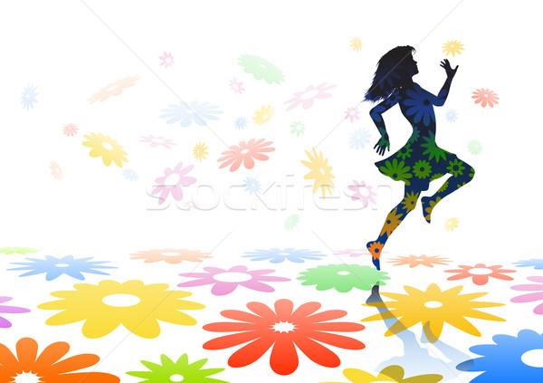 Skipping girl Stock photo © Tawng