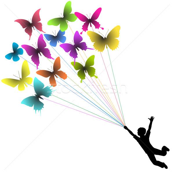 Borboleta menino vetor silhueta transportado voador Foto stock © Tawng