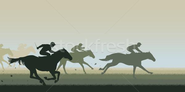 Lóverseny eps8 szerkeszthető vektor kivágás illusztráció Stock fotó © Tawng