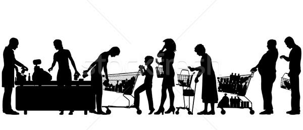 Pénztár szerkeszthető vektor sziluettek emberek áruház Stock fotó © Tawng