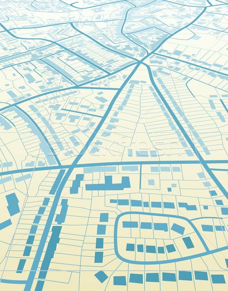 Kék város szerkeszthető általános utcatérkép út Stock fotó © Tawng