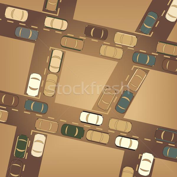 Verkeer drukke auto stad vector Stockfoto © Tawng