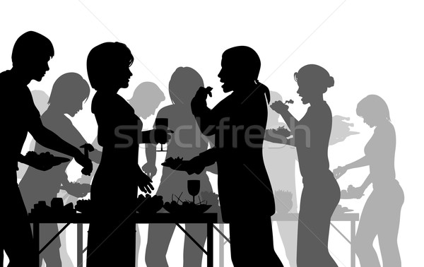 Buffet repas eps8 vecteur silhouettes Photo stock © Tawng