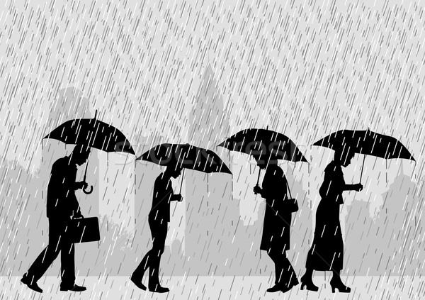 Yağmur insanlar düzenlenebilir şehir sokak yürüyüş Stok fotoğraf © Tawng