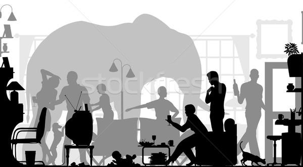éléphant chambre vecteur silhouettes famille Photo stock © Tawng