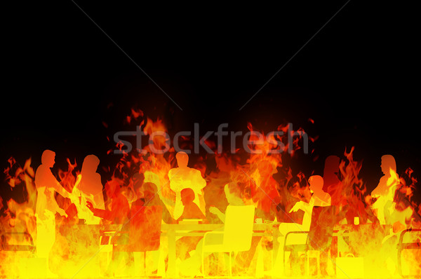 Réunion enfer rendu illustration réunion d'affaires feu Photo stock © Tawng