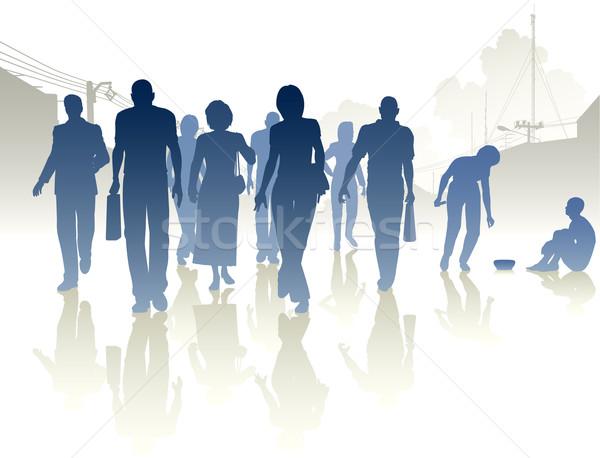 Caridad vector siluetas mujer multitud Foto stock © Tawng