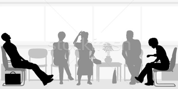 Bekleme odası düzenlenebilir vektör siluetleri insanlar oturma Stok fotoğraf © Tawng