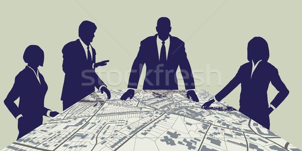 Város szerkeszthető vektor térkép emberek megbeszélés Stock fotó © Tawng