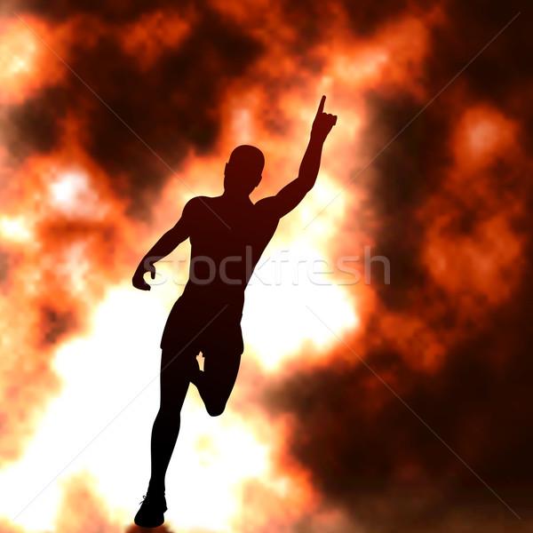 Yangın düzenlenebilir vektör siluet çalışma adam Stok fotoğraf © Tawng