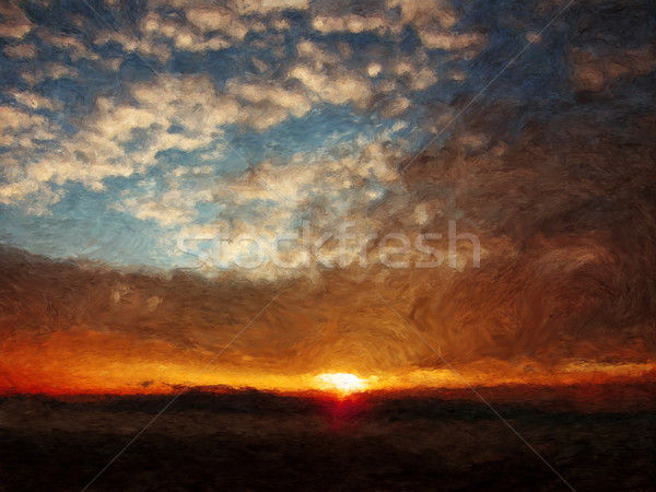 Pintado nascer do sol pintura nuvens sol madrugada Foto stock © Tawng
