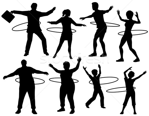 Hoelahoep mensen ingesteld vector silhouetten Stockfoto © Tawng