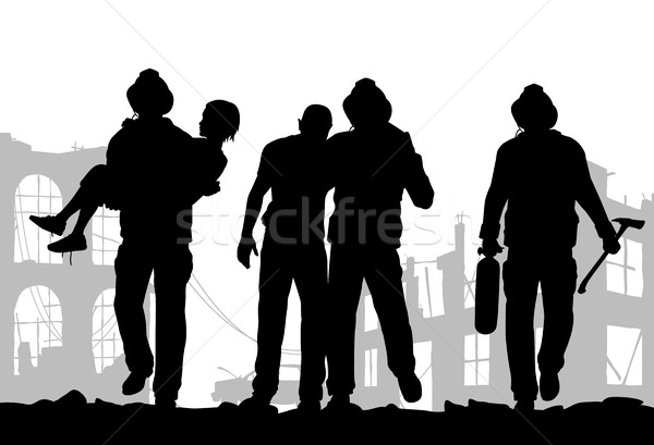 Firefighters silhouette Stock photo © Tawng