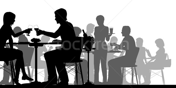 Busy restaurant silhouette Stock photo © Tawng