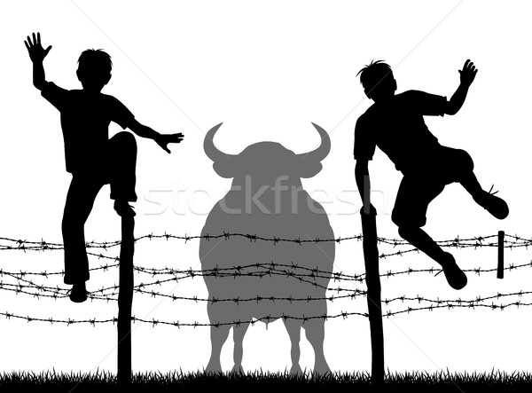 Escaping the bull Stock photo © Tawng