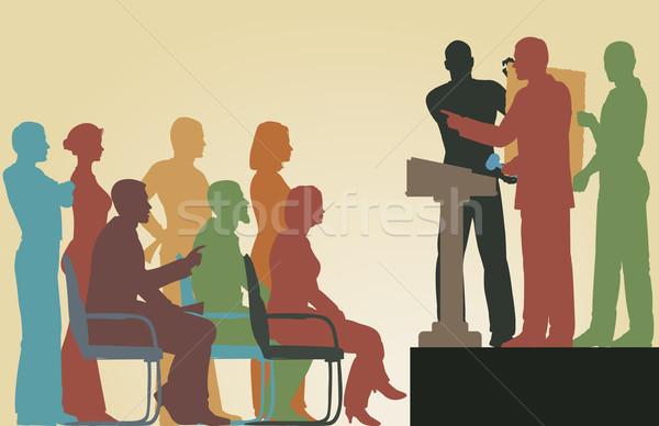 Kunst veiling vector silhouetten mensen Stockfoto © Tawng