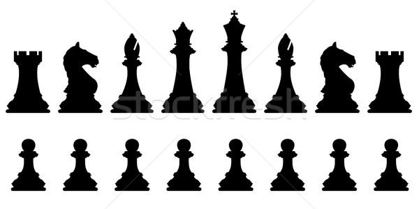 Schaken ingesteld vector silhouetten standaard Stockfoto © Tawng