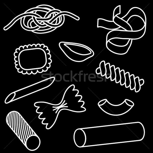 Pasta Set editierbar Vektor Symbole Stock foto © Tawng