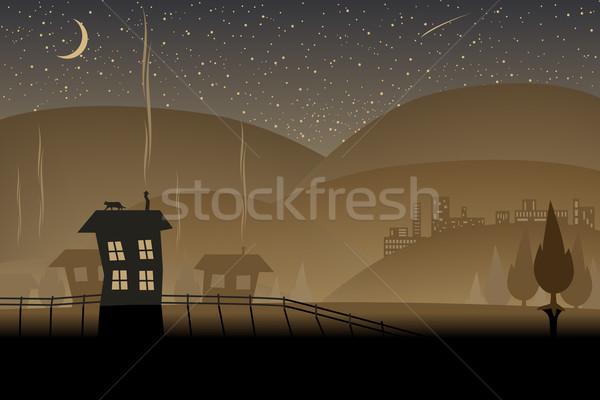 Bruin heuvels hemel gebouw achtergrond Stockfoto © Tawng