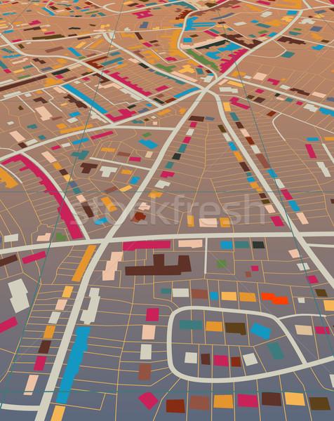 Szín város szerkeszthető általános színes utcatérkép Stock fotó © Tawng