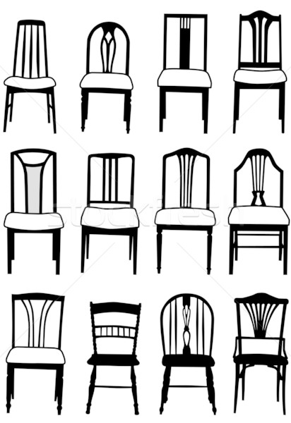 Stock Photo Vector Illustration Selection Of Dining Room Chairs Different Styles