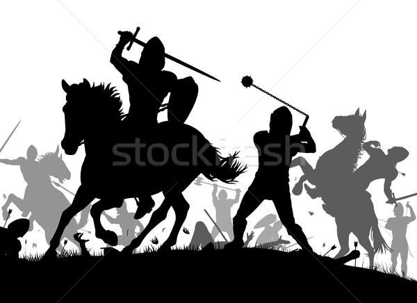 Medieval guerra vector silueta ilustración batalla Foto stock © Tawng