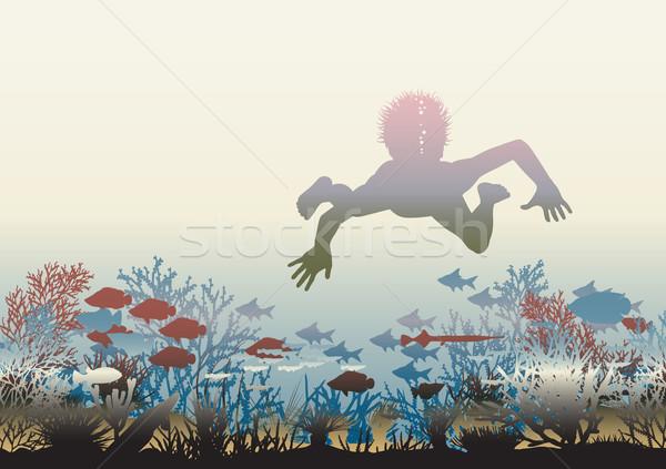 Corail découverte garçon natation Photo stock © Tawng