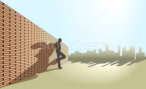 állásnélküli szerkeszthető férfi dől fal városi Stock fotó © Tawng
