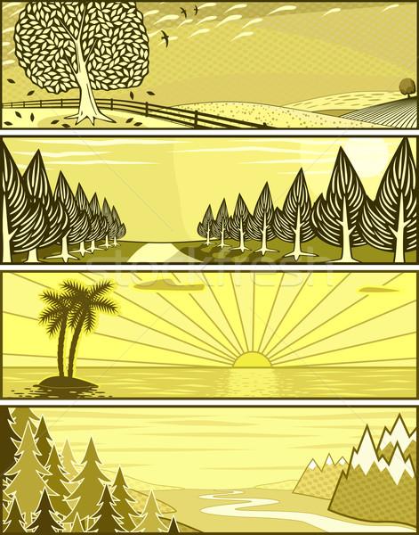 пейзаж Баннеры набор вектора баннер Сток-фото © Tawng