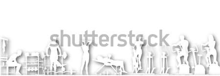 Váróterem kivágás szerkeszthető vektor sziluettek emberek Stock fotó © Tawng
