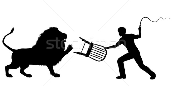 Leeuw vector silhouet man zweep Stockfoto © Tawng