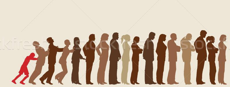 Ongeduldig vector mensen silhouetten Stockfoto © Tawng